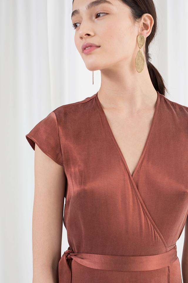 Satin Midi Wrap Dress